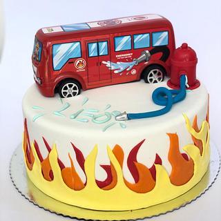 Leo's firetruck birthday cake