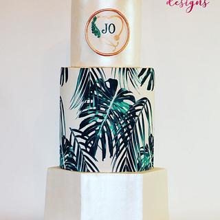 Tropical Leaf Graduation Cake