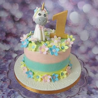 Pastel buttercream unicorn cake - Cake by Karen's Cakes And Bakes.