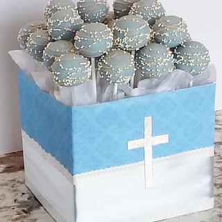 Light blue, tan and white Cake pops
