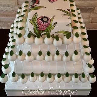 Hand painted Protea flower cake and cake pops