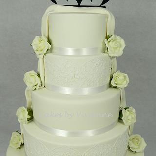 Split Themed Batman Wedding Cake - Cake by Cakes by Vivienne