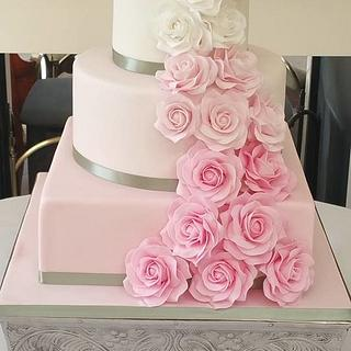 pink Ombre Rose Wedding Cake