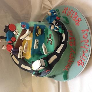 21st birthday road of life cake