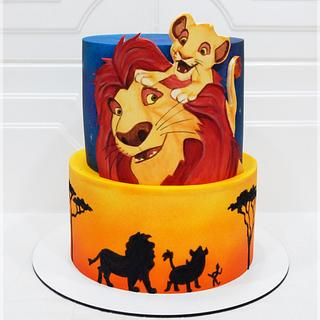 Painting Lion King cake