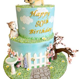 English Garden 80th Birthday Cake