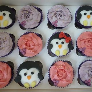 Purple and Penguin Cupcakes