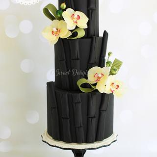 Black Bamboo Orchid Wedding Cake