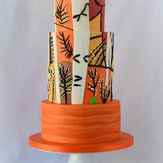 Birch Tree Cake - Sugar Art for Autism Collabration