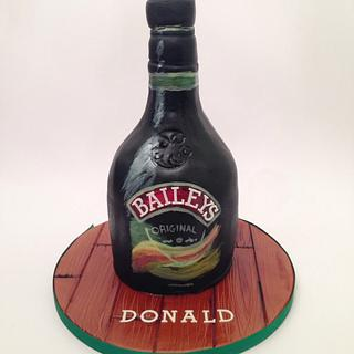 Hand Painted Baileys Bottle Cake