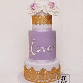 Lilac Wedding cake. - Cake by JT Cakes