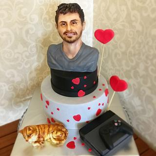 Bust cake whith cat