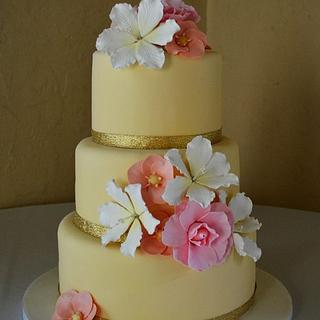 Wedding Cake with Tropical Fondant Flowers