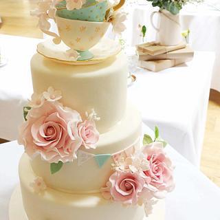 vintage afternoon tea wedding cake