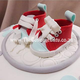 Baby Sneakers on a Cake - Cake by Angel, The Cupcake Lady