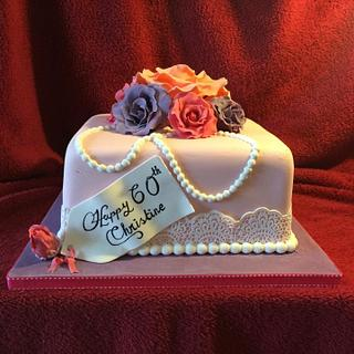 60th Square Roses and Pearl Cake