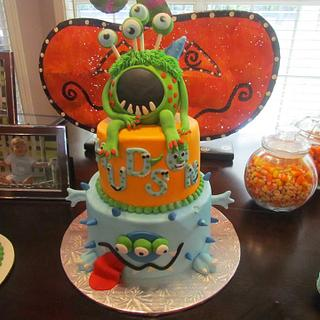 Monster party themed cake