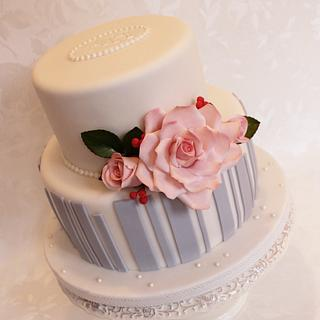 Gray stripes and roses