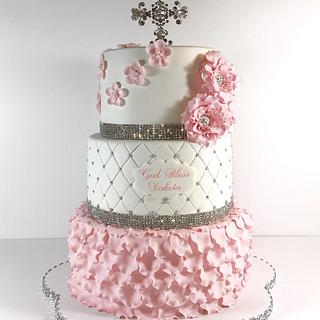 Pink and Bling communion Cake