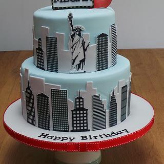 New York Skyline 21st Birthday Cake
