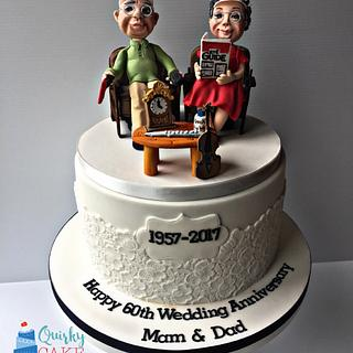 60th wedding anniversary - Cake by Claire Lynch - Quirky Cake Designs