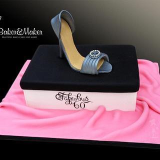 Fabulous at 60 Shoe and Shoe box Cake