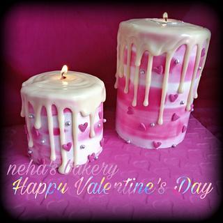 Valentine candle cake