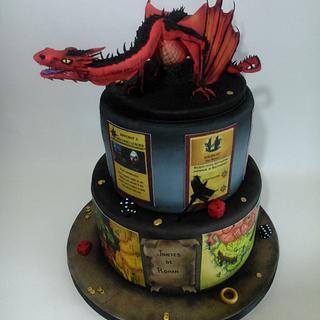 Tarta juego del risk del señor de los anillos y smaug el dragón de la película los hobbit