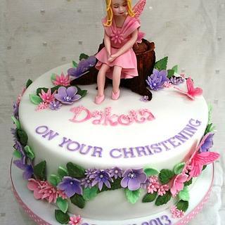 Flower Fairy Christening Cake - Cake by BakedByBecky
