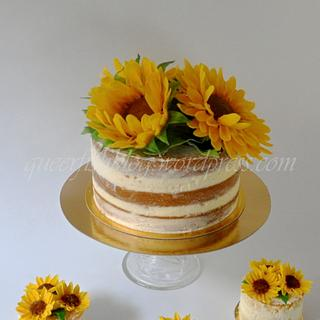 Naked Sunflower Wedding Cake and Mini Cakes