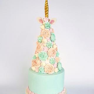Unicorn meringue tower cake