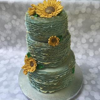Sunflower Blue Sky Fondant Cake