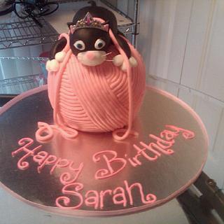Cat on a Yarn Ball Cake