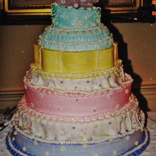 Whimsical wedding cake in buttercream