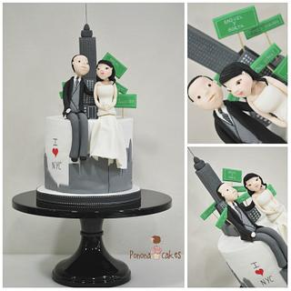 NYC inspired wedding cake