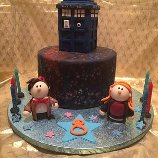 Doctor who and the tardis in a nebula  - Cake by For goodness cake barlick