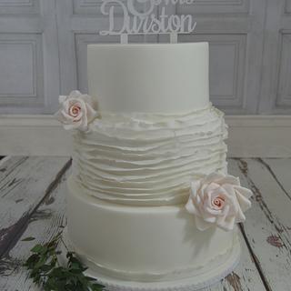 White Ruffle Rose Wedding Cake...x.