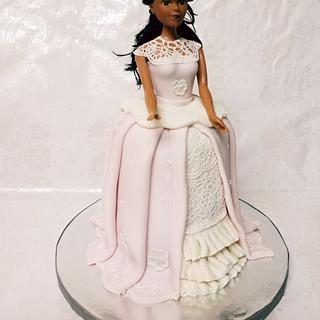 Edible lace doll cake