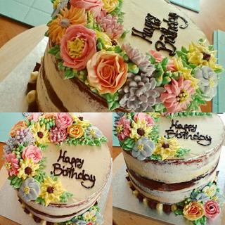 Semi naked buttercream flowers birthday cake