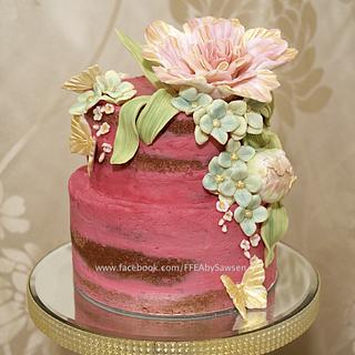 Pink semi-naked for mother's day - Cake by Fancy Favours & Edible Art (Sawsen)