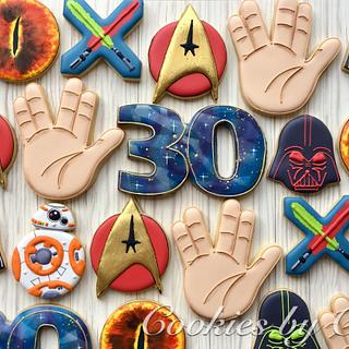 Star Trek, Star Wars and Lord of the Ring themed birthday cookies