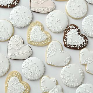 Hand-piped lace Wedding Cookies