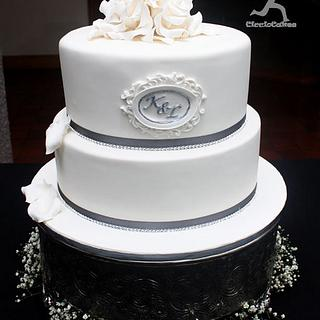 White Roses & Bling Wedding Cake for Kuru & Leigh