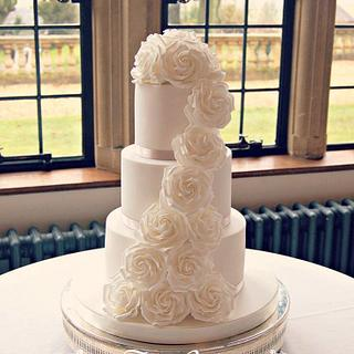 White Rose Cascade Wedding Caek