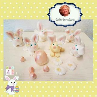 Happy hapily easter bunny family
