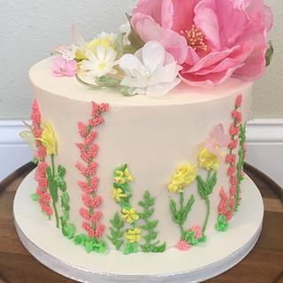 Wafer paper flower celebration cake - Cake by Misty