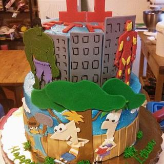 Phineas & Ferb/Avengers Birthday Cake