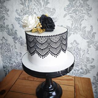Black and white rose cake