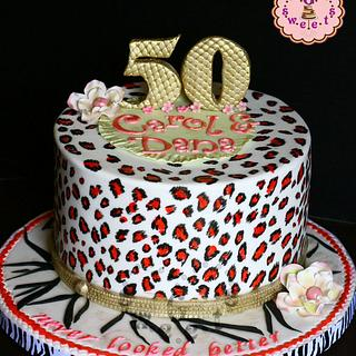 50 Never Looked Better Hot Pink Leopard Print Cake