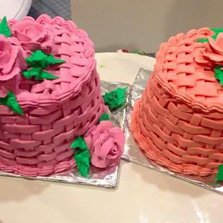 Rose & Basket Weave Cakes - Mini Cakes